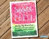 Summer Party Invitation, Watercolor Watermelon Invitation, Pool Party Invitation, BBQ Party Invitation, Printable Party Invitation