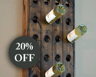 Wedding Gift Wine Rack - Wall Hanging Wine Rack - Riddling Rack - Wine Rack - Wine Bottle - Wine Glass - Champagne - Wine Storage Sale