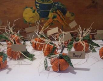 Place Card Holder, Thanksgiving Decor, Dinner Decor, Handmade Fabric Pumpkins, Home Decor, Home and Living, Holiday Decor, Entertaining