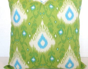 Green Outdoor Lime green Outdoor Throw Pillow Covers Lime Turquoise Blue Outdoor pillow Covers 16 18x18 20 Ikat Green Tropical Pillows