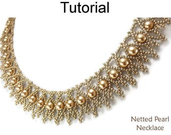 Beading Tutorial Pattern Necklace - Netting Stitch - Simple Bead Patterns - Netted Pearl Necklace #25367