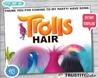 TROLLS COTTON CANDY Label, Trolls Hair, Trolls Favor labels, Valentines favors, Birthday Favors