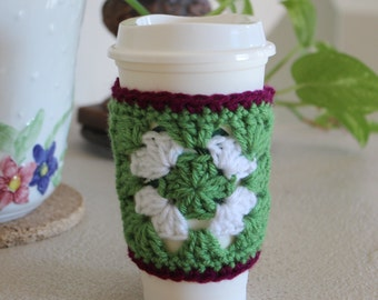 Granny Cup Cozy / Green white purple/Ready to Ship