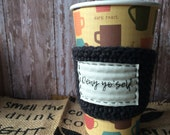 Deny yo'self coffee cozy. Penitential drink sleeve. Unique Catholic gift. Gift for coffee lover. Die to self.
