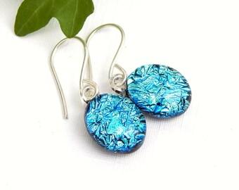 Vivid Sky Blue Dichroic Glass Drop Earrings, Oval Blue Dangle Earrings on 925 Sterling Silver Earwires, Fused Glass Jewelry