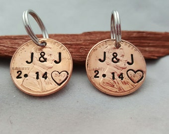 his and hers CUSTOM PERSONALIZED PENNY pendant personalized  date handstamped anniversary gift lucky penny gift for husband wife boyfriend
