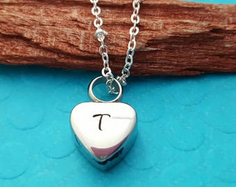 Cremation urn necklace, loss of loved one, cremation jewelry, Memorial jewelry, petite heart urn, sympathy gift, loss of dad, loss of pet