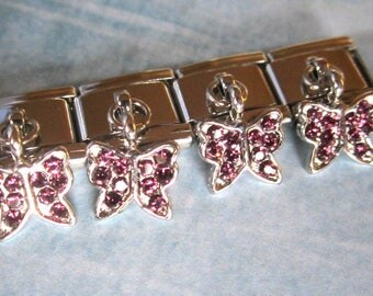 Pink  Butterfly Dangling  9mm Italian Style Nomination Bracelet Charm Stainless Steel Bracelet Making Silver Toned single charm dangler