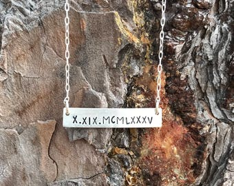 Sterling Silver, Roman Numeral, Hand Stamped, Bar Necklace, Date Necklace, Jewelry, Anniversary, Wedding, Birth Date, Necklace, Handmade