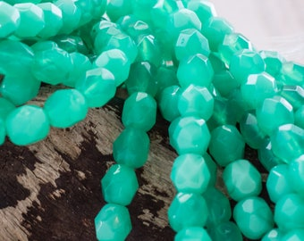 6mm Jade Czech Glass Fire Polished Round Beads, 685, Milky Jade 6mm Round Beads, 25 Beads