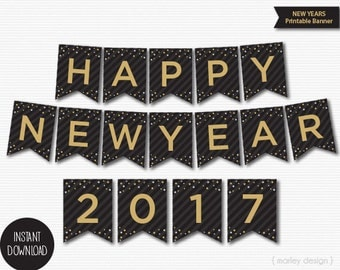 New Years Banner Printable Black Gold Confetti New Year's Decorations New Year's Decor New Years Party Digital Download Printable Banner