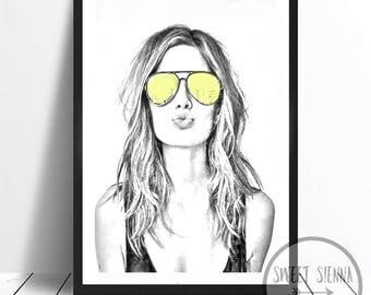 Fashion Print, Fashion Girl Print, Kiss Kiss Print, Girl wall art, scandi & nordic decor, wall art, monochrome print, wall decor- 8x10'