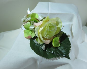 Cream Rose Wrist Corsage, Wedding, Prom, Anniversary.