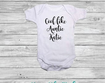 Cool like Auntie 'insert name' Personalised 100% White Cotton Baby Vest Baby Shower  New Baby Gift Present
