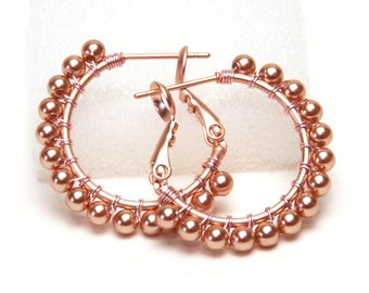 """Rose Gold Pearl Hoop Earrings - Wire Wrapped 20mm (Beaded 1"""") or 30mm (Beaded 1.5"""") Rose Gold Plated Hoops with Posts and Leverbacks"""