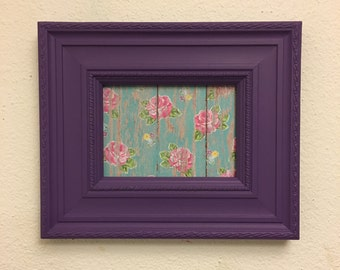 5x7 Purple Upcycled Handpainted Picture Frame