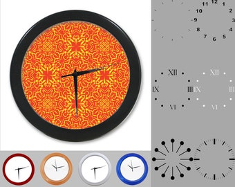 Retro Damask Wall Clock, Abstract Neon Design, Artistic Linear, Customizable Clock, Round Wall Clock, Your Choice Clock Face or Clock Dial