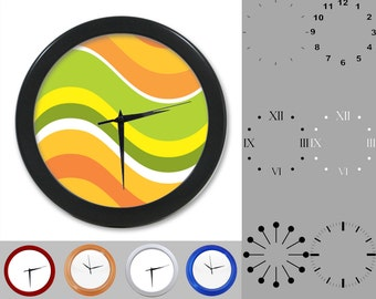 Retro Wave Wall Clock, Vintage Design, Colorful Graphic Swirls, Customizable Clock, Round Wall Clock, Your Choice Clock Face or Clock Dial