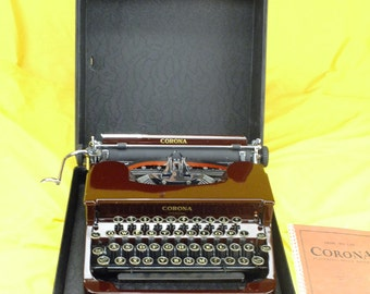 MINT Refurbished  Burgundy 1936 CORONA Sterling Typewriter SERVICED w/ warr