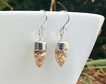 Gemstone Dangle Earrings, 925 Sterling Silver and Brecciated Mookaite Bullet Shaped Drops, Neutral Caramel Colours of Cream, Beige, Brown