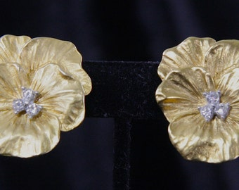 Burnished Gold Tone Clip-On Flower Earrings