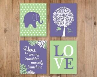 Baby Girl Plum Celery Nursery Elephant You Are My Sunshine Personalized Name Art // Girls Bedroom Print Set of (4) 5x7, 8x10, 11x14 Unframed