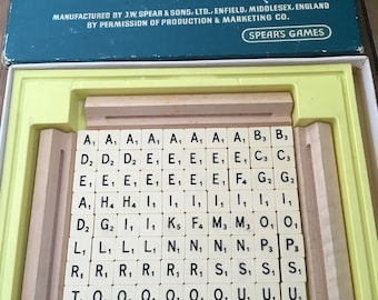 Retro travel scrabble board game for travelling or tiles for craft projects upcycling