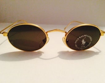 Vintage Yellow Gold Polo by RALPH LAUREN Oval Sunglasses