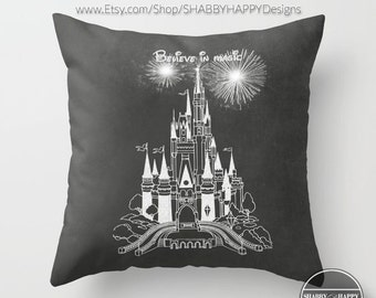 Chalkboard Art Pillow Zippered Cover / Case The Castle Chalk Magic Kingdom / Indoor or Outdoor 2-sided 16X16 18X18 20X20 22X22 Cotton