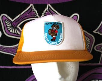 Rocky Mountain Ram Banff Lake Louise Baseball Cap.  80s Yellow Retro Skiiing Resort Collectible Mesh Back Trucker Cap. 80s Beach Gear Hat