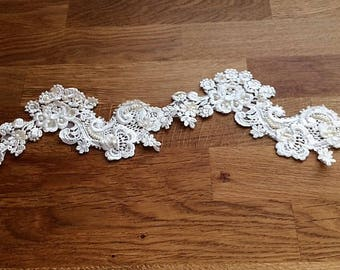 Vintage Beaded Sequined Ivory Lace Applique