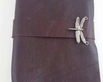 Genuine Leather Travel Journal with Dragonfly