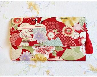 Large envelope clutch japanese kimono fabric red navy yellow orange crane evening purse with handmade tassel