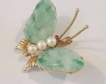 Vintage 14k Yellow Gold Jade, Pearl and Ruby Butterfly Pin or Pendant