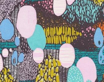Doo Be Doo Be Doo by Sarah Watson Bird's Eye View Cloud 9 Fabrics  OE 100 Certified Organic Cotton Aqua Fabric Pink Abstract Fabric
