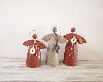 Ceramic angel sculpture, stoneware pottery angel, abstact angel sculpture, brown red angel, dark red ceramic angel, Christmas angel