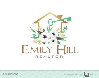 Premade Real Estate Logo, Realtor Logo, Real Estate Logo, House Key Logo, House Logo, Real Estate Agent Logo, Key Logo , Agent Logo