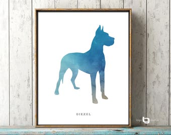 Great Dane Dog Wall Art, Personalized Name Of Pet, Watercolor Great Dane Art , Dog Print, Dog Painting, Dog Wall Art, Watercolor Art