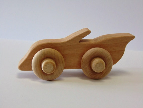 Natural Wood Toy Convertible Car