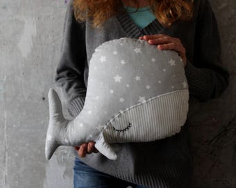 Sleepy whale pillow nursery decor 10x15' primitive stuffed animal toy nautical nursery boho travel pillow grey white stars