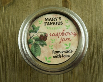 Mason Jar Canning Labels -  Vintage Raspberry Design - Personalized Canning Labels  - 20 - 2 Inch Or 12-2.5 inch Round StickerLabels - vfc