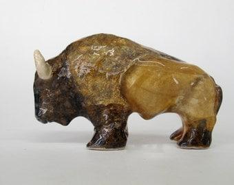 Clay Buffalo, Realistic Handmade Bison Sculpture, Detailed Animal Figurine, Western Decor, Brown, Black, Gift for Him, Buffalo Art