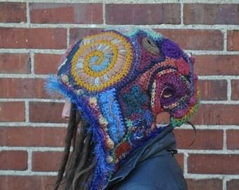 Crazy Collage Freeform Crochet Hood