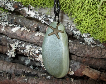 Natural Beach Stone Necklace - Natural Green Jadite Jasper Rock Pendant Green - Zen Jewelry