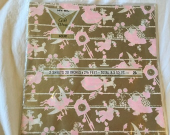 PInk, gold and white Children's 1960's Nurery Rhyme wrapping paper - 2 sheets - unopened - Hy-Sil