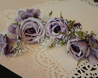 "DARKWHISPER Vintage Handmade ""Happy Holiday"" Romantic Spring Purple Roses Hair Accessory Set"