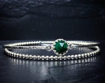 Genuine Emerald Bracelet / May Birthstone / Natural Emerald Charm Bangle / Gift for Her / Green Gemstone Bangle / New Mother Gift