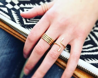 Quattro Wrap Ring / Wide Profile Wrap Ring / 14k Gold Filled Knuckle Ring / 14k Gold Filled Midi Ring / Gold Filled Wide Coil Ring
