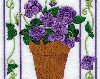 Potted Violets Medley Embroidered on Made-to-Order Pillow Cover