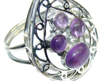 Amethyst Sterling Silver Ring - weight 5.60g - Size 10 - dim l -1 1 8, w -1, t -1 4 inch - code 31-maj-16-29